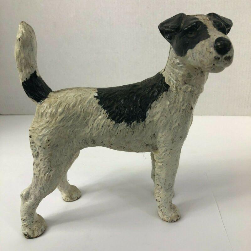 Hubley Vintage Cast Iron Standing Fox Terrier Dog Doorstop Black and White