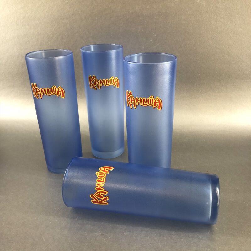 Set Of Four Tall Blue KAHLUA Branded Advertising Slim Highball Liqueur Glasses