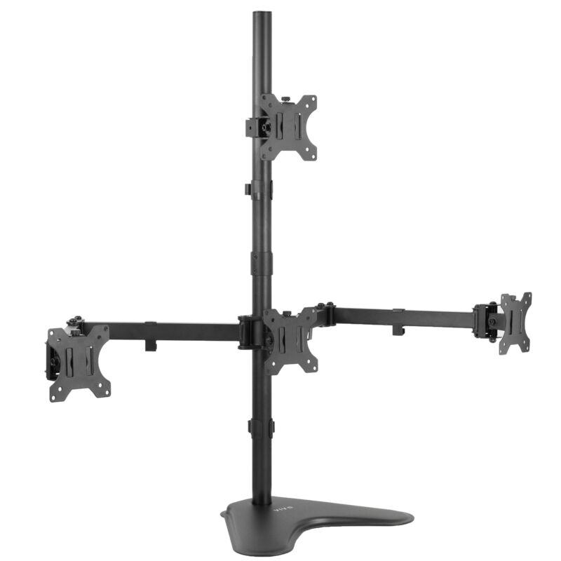 "VIVO Quad 13"" to 24"" LCD Monitor Freestanding Desk Stand | 3 + 1 = 4 Screens"