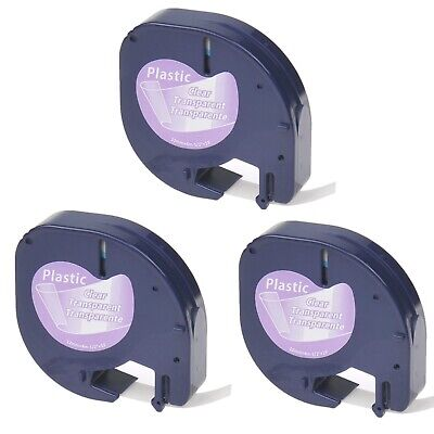 3pk Black On Clear Tape 16952 Lt16952 For Dymo Letra Tag Label Makers 12x13ft