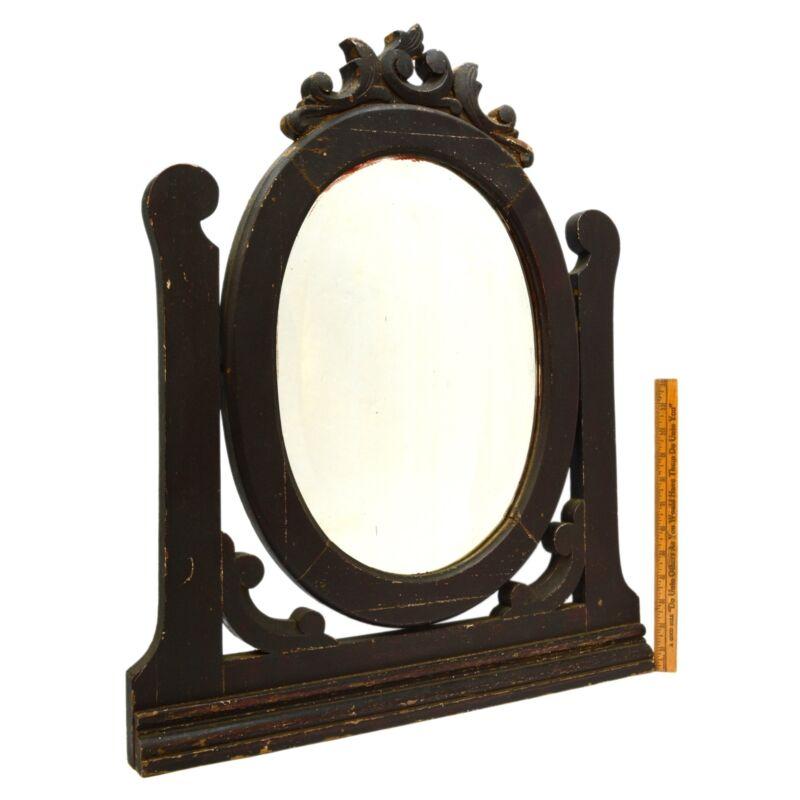 "Antique HARDWOOD DRESSER/VANITY MIRROR 11""x15"" Beveled Oval SALVAGED c.19th/20th"