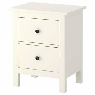 IKEA WHITE COLOR SOLID WOOD LARGE BED SIDE TABLE RRP $ 269