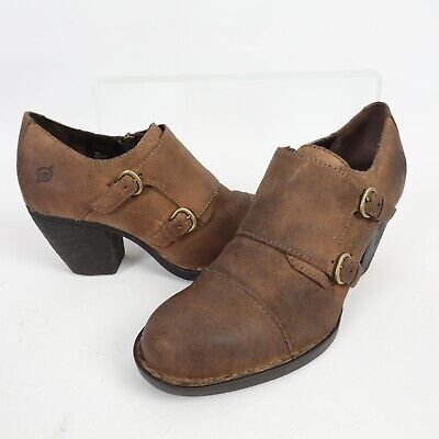 BOC Born Womens Ankle Booties Davis Brown Leather Double Monk Strap Boots Size 9
