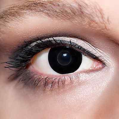 2 Schwarze Kontaktlinsen mit Behälter -Halloween- Hexenaugen,farbige (Schwarze Kontaktlinsen Halloween)