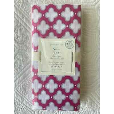 Pottery Barn Harper Clover Geo Crib Sheet Organic Cotton Pink Grey White