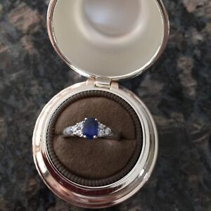 Birks 18K White Gold with Blue Sapphire & .60 Diamond Ring
