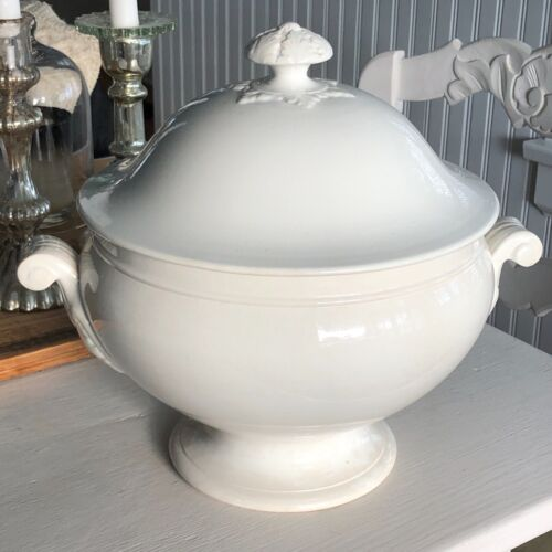 Antique French White Soup Tureen Sarreguemines--large--Ironstone Faience