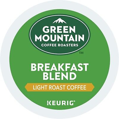 Green Mountain Breakfast Blend Coffee 24 to 120 Keurig K cup Pods Pick Any Size  - Green Breakfast Cup