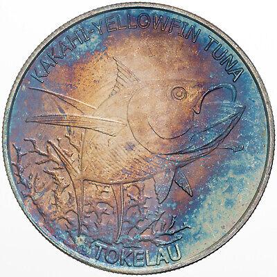 2014 TOKELAU 5 DOLLARS YELLOWFIN TUNA .999 SILVER BLUE TONED UNC COLOR BU (DR)