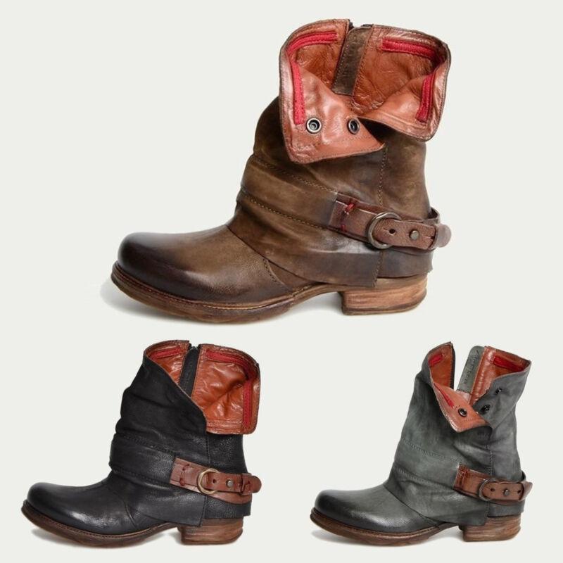 b141193d05182f Damen Retro Stiefeletten Stiefel Ankle Boots Blockabsatz Lederoptik Biker  Schuhe