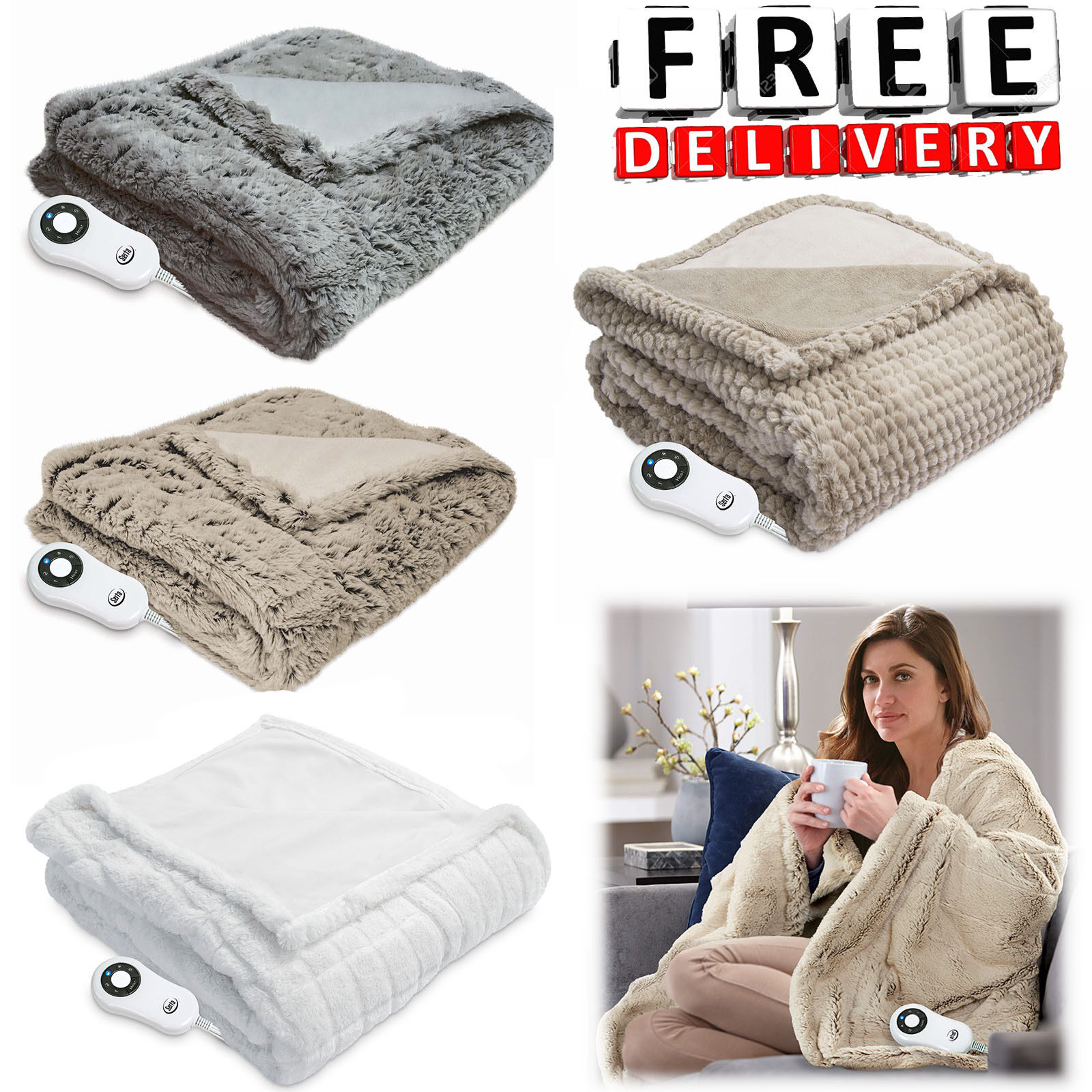 "Electric Heated Warming Throw 50-60"" Soft Plush Blanket Faux"