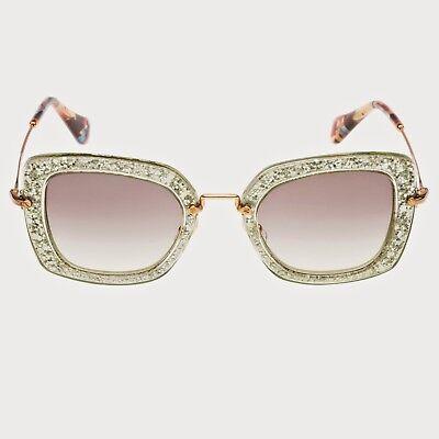 MIU MIU SMU 07O Noir Square Acetate Sunglasses in Green Silver (Miu Miu Acetate Sunglasses)