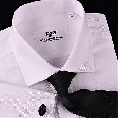 White Twill Formal Dress Shirt Egyptian Cotton Formal Business Sexy Luxury -