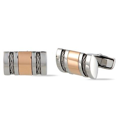 Charriol Stainless Steel Rose Gold Plated Cable Rectangle Cufflinks Plated Rectangle Cufflinks