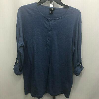Women's H&M Blue Long Sleeve Roll Tab Blouse Shirt L Large B27