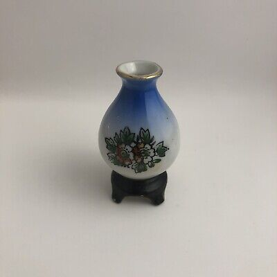 H Kato Miniature Blue Vase Made in Occupied Japan