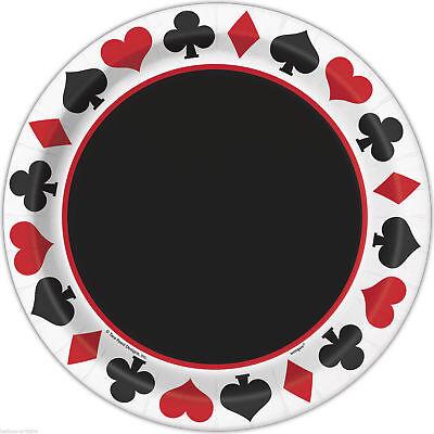 Mad Hatter Theme Dinner Plates; Casino Night; Alice in Wonderland Tableware - Casino Plates