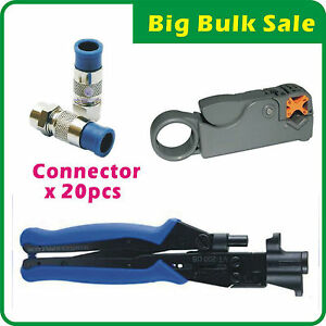 Compression Connector Tool + Coaxial Cable Stripper + RG6 Compression Connector