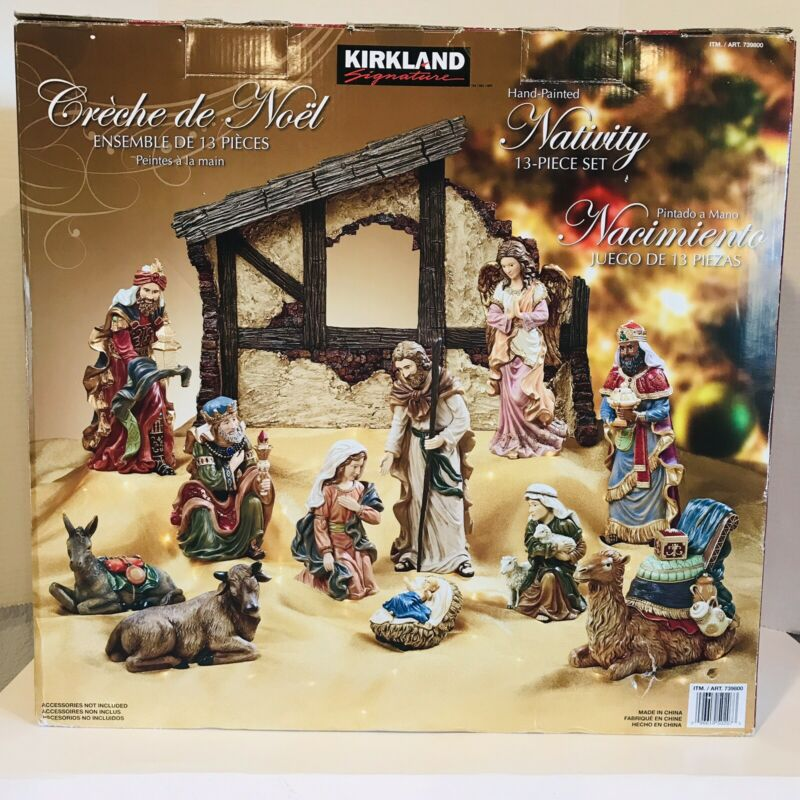 Kirkland Signature Nativity Costco 13 Pc Crèche De Noel Original Box EUC #739800