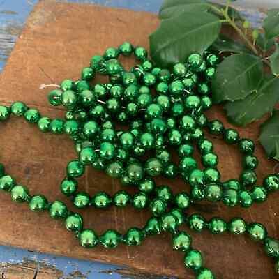 Vintage Christmas Tree Glass Bead Garland Green Silver 7+ Feet