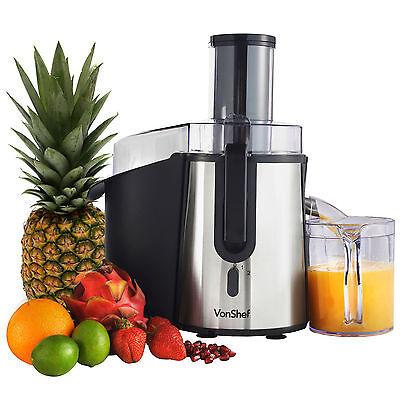 VonShef Juicer Centrifugal Whole Fruit Juice Extractor 990W Citrus Vegetable
