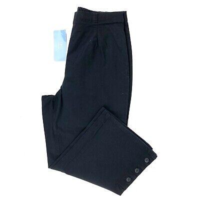DENIM & CO Women's High-Rise Capri Pant Size L Elastic Waistband Straight NEW