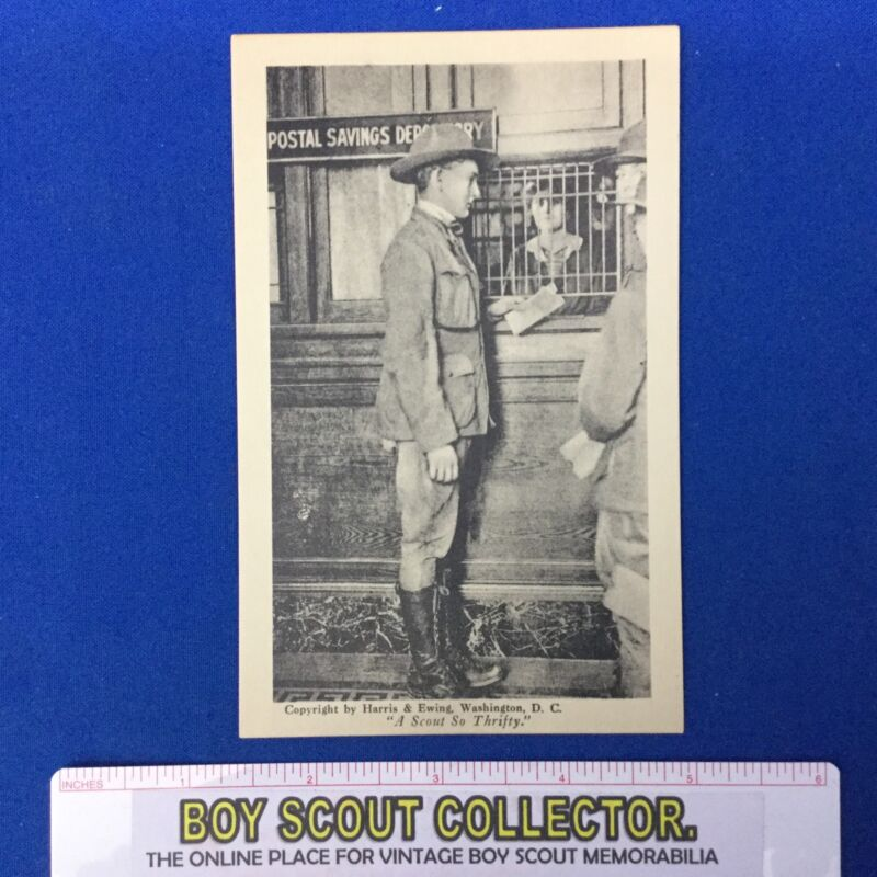 Boy Scout Vintage Official Post Card A Scout So Thrifty