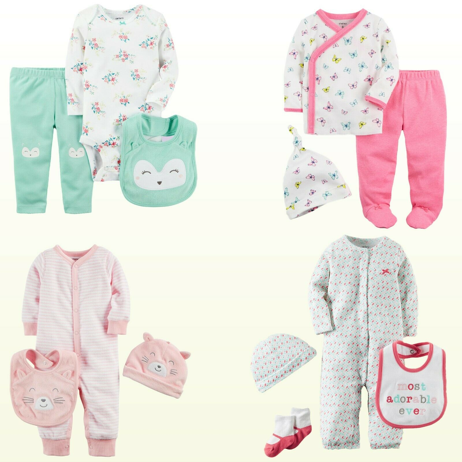 New Carter's Baby Girl 3 or 4 pc Layette Gift Set Geo / Flor