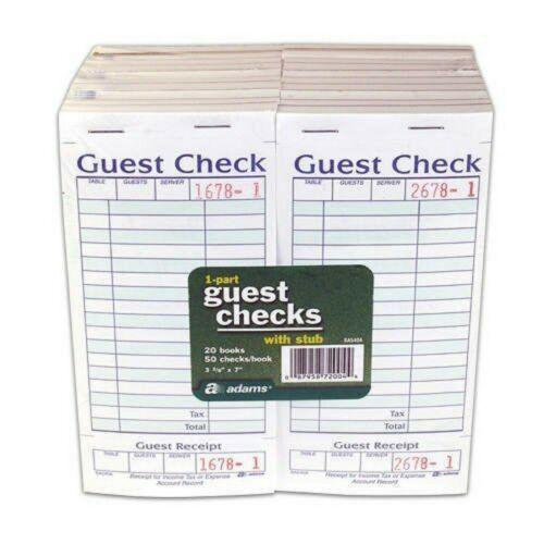 Adams SA540A Guest Check With Stub ( 50 Checks Per Pad) - 20 Books