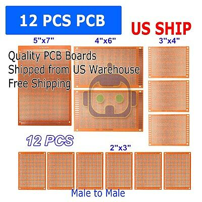 12pcs Kit Prototyping Pcb Printed Circuit Board Prototype Breadboard Stripboards