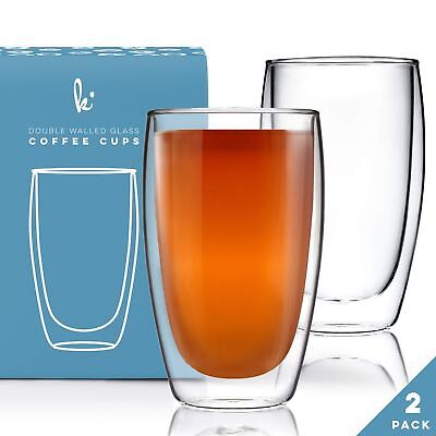 - Coffee or Tea Glass Mugs Drinking Glasses Set of 2-15oz Double Walled Thermo