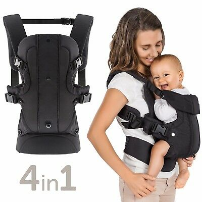 Fillikid Babytrage Rückentrage Bauchtrage Carrier Kindertrage Walk 4in1 Schwarz