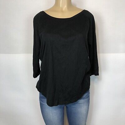 Fabletics Black Scoop Back Athletic Tee Shirt Women's Size L , 3/4 Sleeve Top T