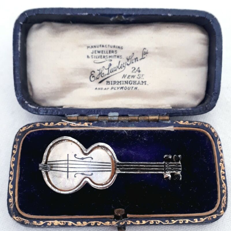 VINTAGE VIOLIN CELLO MOTHER OF PEARL MUSICAL INSTRUMENT DETAILED PIN BROOCH