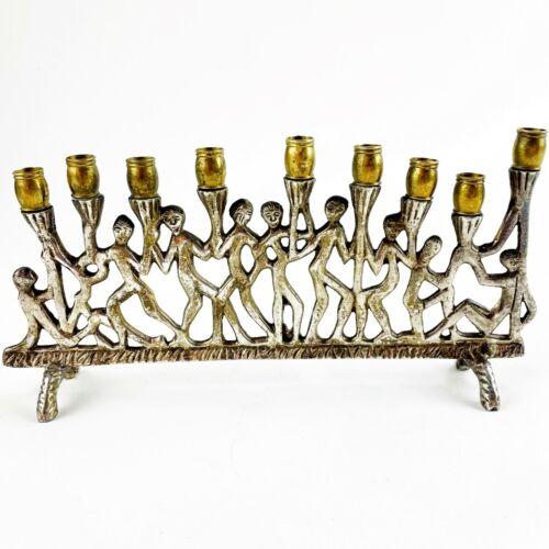 Mid Century Brutalist Figurative Menorah Judaica Israel MCM Silver Tone & Brass
