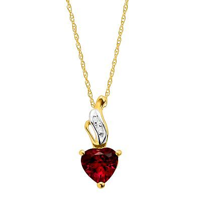 1 ct Created Ruby Heart Pendant with Diamonds in 10K Gold