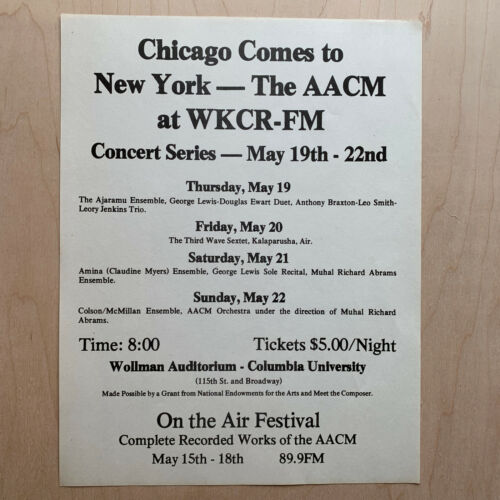 AACM Concert Flyer WKCR NYC 1977 Muhal Abrams/AnthonynBraxton/Leroy Jenkins/Air