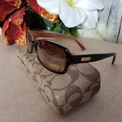 Coach Women's Karen Tortoise Sunglasses Smaller Frame Black WGradient Grey Lens