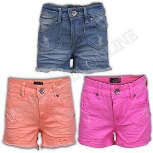 GIRLS-SHORTS-HOT-PANTS-DENIM-JEANS-COTTON-PLAIN-SUMMER-FASHION-CASUAL