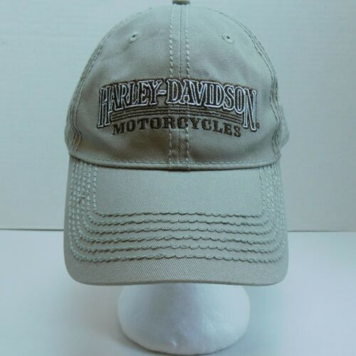 Harley Davidson Motor Cycles Logo Cap Hap One Size Adjustable Strap tan