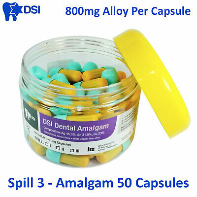 Dsi Dental Restoration Amalgam Spill 3 Tooth Cavity Filling - 50 Capsules Jar