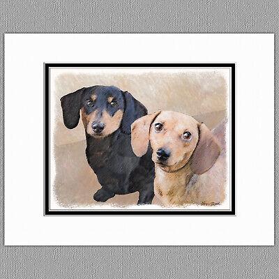 Black And Tan Dachshund (Dachshund Smooth Red Black and Tan Original Art Print 8x10 Matted to)