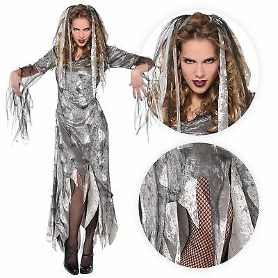 Adult Ladies Ghoul Pirate Ghost Princess Costume Womens Halloween Fancy Dress (Ghost Princess Costume)
