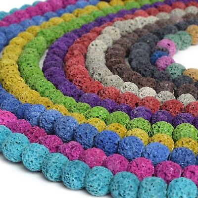 Volcanic Lava Rock - Dyed Lava Rock Beads 8mm Round 15.5 inch Strand Volcanic Pick Color