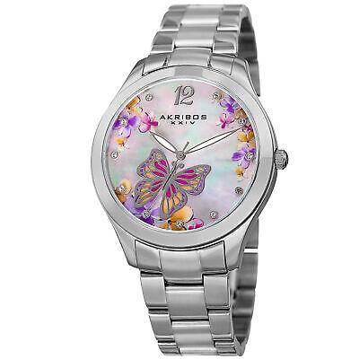 Women's Akribos XXIV AK953BSS White Mother of Pearl Printed Butterfly Dial Watch