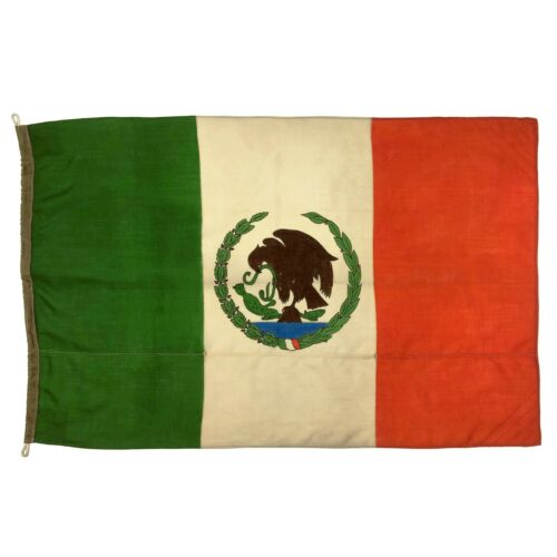 Vintage Nautical Wool Flag Mexico Mexican Eagle Snake Boat Cloth Ship Old Marine