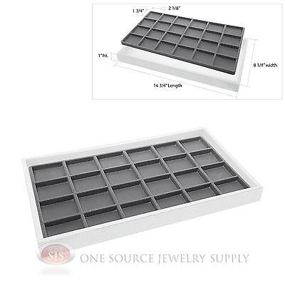 White Plastic Display Tray Gray 24 Compartment Liner Insert Organizer Storage