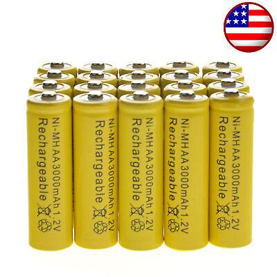 20 AA Rechargeable Yellow Battery NiMH 3000mAh 1.2v Garden Solar Ni-MH Light LED ()