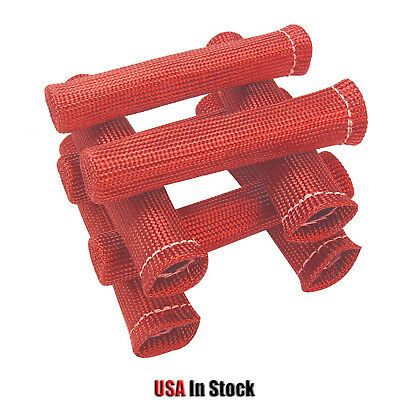 8X 6 inch Spark Plug Wire Boots Heat Shield Protector Sleeve Red 1200°