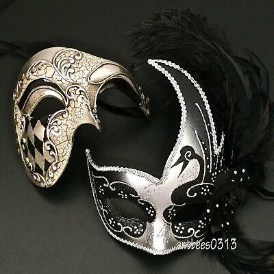 Black/Silver Couple Masquerade HalfFace Mask Harlequin Cosplay Costume Halloween - Harlequin Masquerade Halloween Costume